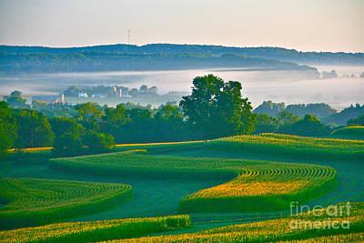 Sunrise And Morning Fog Art Print