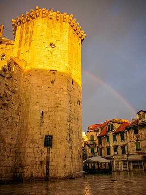 Photograph - Sunrise And Rainbow Over Split Croatia by Anthony Doudt