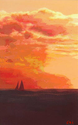 Painting - Sunrise And Sails Emerald Isle North Carolina by G Linsenmayer