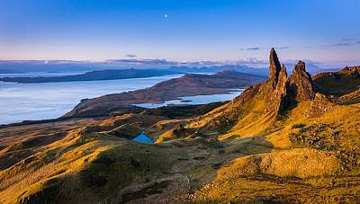 Sunrise And The Moon Over The Old Man Of Storr Art Print