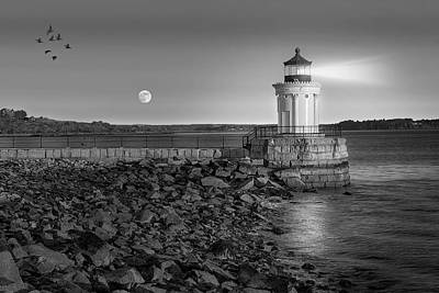 Sunrise At Bug Light Bw Art Print