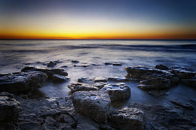 Quiet Photograph - Sunrise At Cave Point by Scott Norris