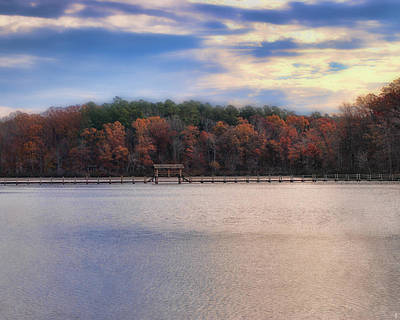 Photograph - Sunrise At Chickasaw - Autumn Lake Scene by Jai Johnson