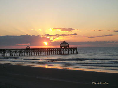 Sunrise At Folly Beach Art Print by Paula Rountree Bischoff
