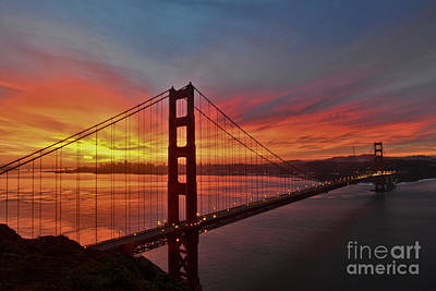 Sunrise Over The Golden Gate Bridge  Art Print by Peter Dang