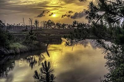 Pier Digital Art - Sunrise At Gulf Shores Bayou by Michael Thomas