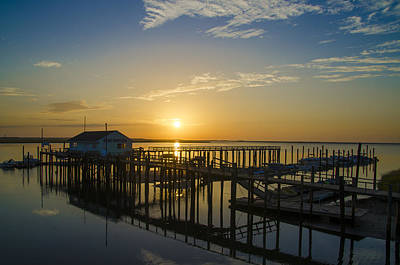 Pier Digital Art - Sunrise At Hereford Inlet - Angelsea New Jersey by Bill Cannon