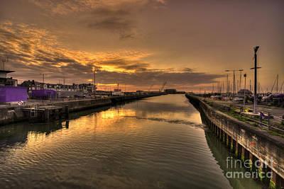 Sunrise At Lowestoft Harbour  Art Print
