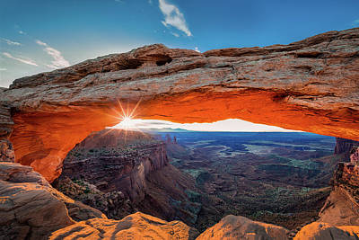 Arches National Park Photograph - Sunrise At Mesa Arch by Michael Zheng