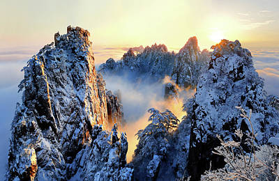 Ice Fog Photograph - Sunrise At Mt. Huang Shan by Adam Wong