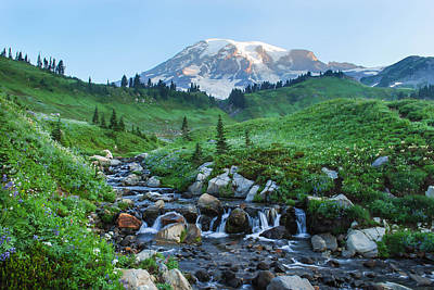 Photograph - Sunrise At Mt Rainier by Kimberly Deverell