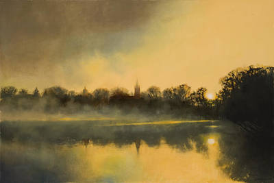 College Campus Painting - Sunrise At Notre Dame Sold by Cap Pannell