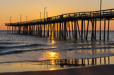 Art Print featuring the photograph Sunrise At Outer Banks Fishing Pier by Gregg Southard