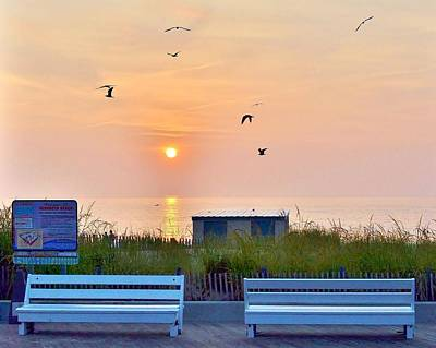 Sunrise At Rehoboth Beach Boardwalk Art Print