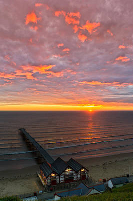 Photograph - Sunrise At Saltburn Pier And Seafront Portrait by Gary Eason