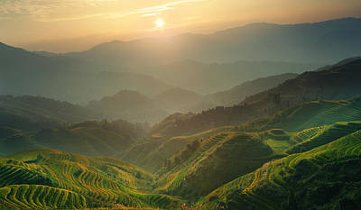 Sunrise At Terrace In Guangxi China 7 Art Print