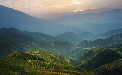Sunrise At Terrace In Guangxi China 8 Art Print