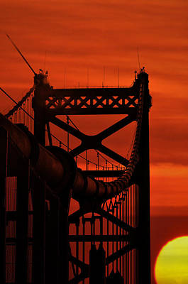 Sunrise At The Bridge Photograph - Sunrise At The Ben Franklin Bridge by Bill Cannon