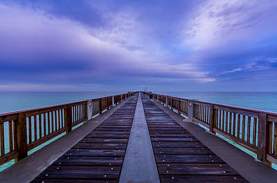 Sunrise At The Panama City Beach Pier Print by David Morefield