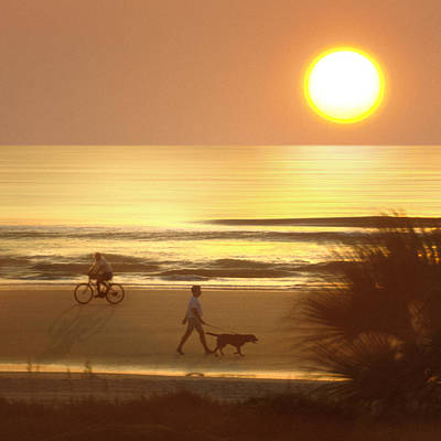 Walking Dog Digital Art - Sunrise At Topsail Island 2 by Mike McGlothlen