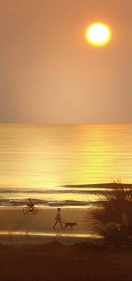Walking Dog Digital Art - Sunrise At Topsail Island Panoramic by Mike McGlothlen
