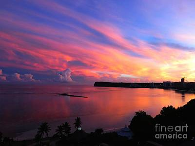 Fiery Photograph - Sunrise At Tumon Bay Guam by Scott Cameron