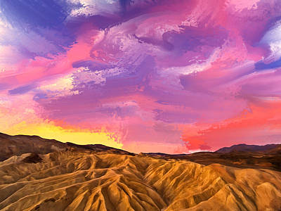 Death Valley Painting - Sunrise At Zabriskie Point by Dominic Piperata