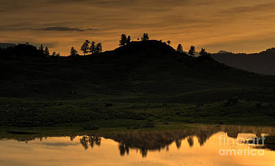 Print featuring the photograph Sunrise Behind A Yellowstone Ridge by Bill Gabbert