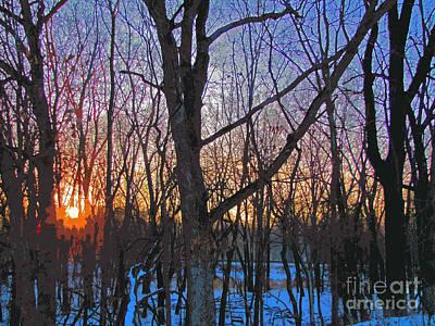 Sunrise Behind The Trees Art Print
