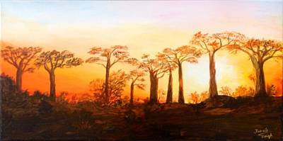 Painting - Sunrise Boab Trees by Renate Voigt