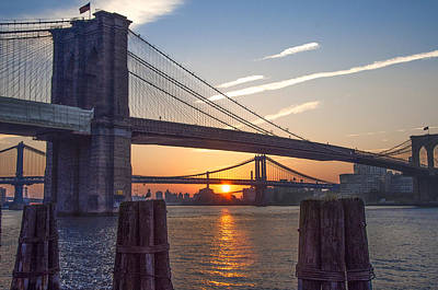 Harlem Digital Art - Sunrise - Brooklyn And Manhattan Bridges by Bill Cannon