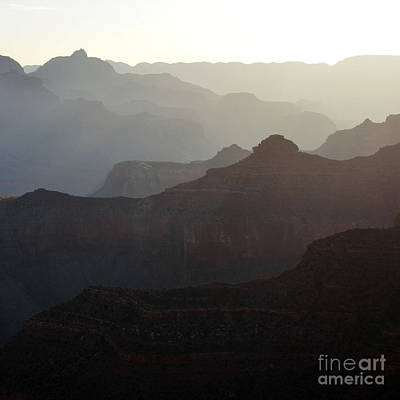 Scenic Landscape Photograph - Sunrise Canyon Silhouettes In Grand Canyon National Park Square by Shawn O'Brien