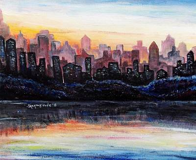 Art Print featuring the painting Sunrise City by Shana Rowe Jackson