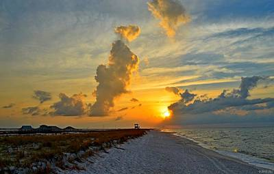 Photograph - Sunrise Colors Over Navarre Beach With Stormclouds by Jeff at JSJ Photography