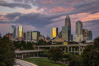 Charlotte Skyline Photograph - Sunrise Commute by Chris Austin