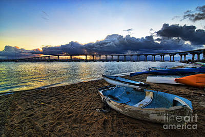 Sunrise - Coronado Bridge Art Print by Peter Dang