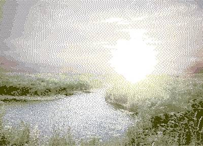 Drawing - Sunrise - Cross Hatching by Samuel Majcen