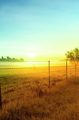 Barbed Wire Wall Art - Photograph - Sunrise Fence Line Central Indiana by Michael Huddleston / Artsyfartsytbarn