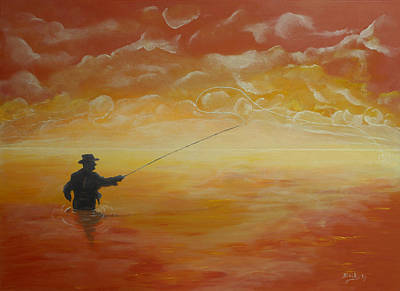 Mist Painting - Sunrise Fishing by Donna Blackhall