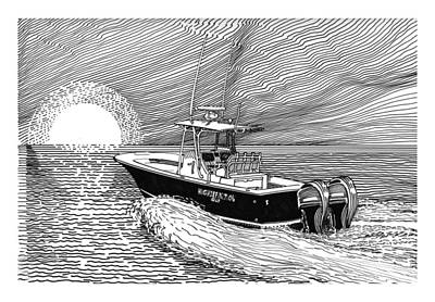 Boats In Water Drawing - Sunrise Fishing by Jack Pumphrey