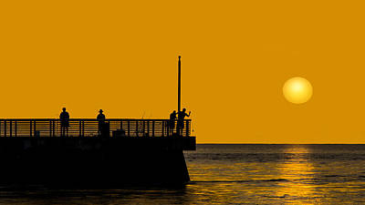 Photograph - Sunrise Fishing The Jetty by Don Durfee