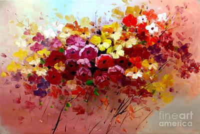 Sunrise Flowers - Abstract Oil Painting Original Modern Contemporary Art House Wall Deco Art Print by Emma Lambert