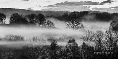 Sunrise Fog Black And White Art Print