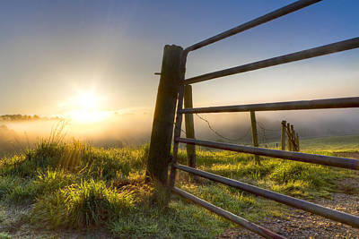 Tn Barn Photograph - Sunrise  Gate by Debra and Dave Vanderlaan