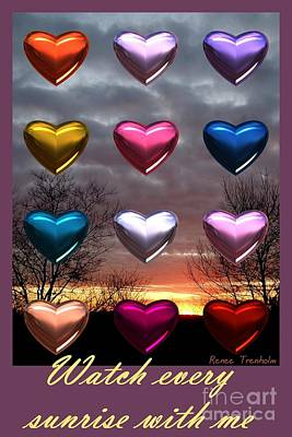 Photograph - Sunrise Hearts . Poster by Renee Trenholm