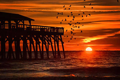 Sunrise In Myrtle Beach With Birds Flying Around The Pier Art Print