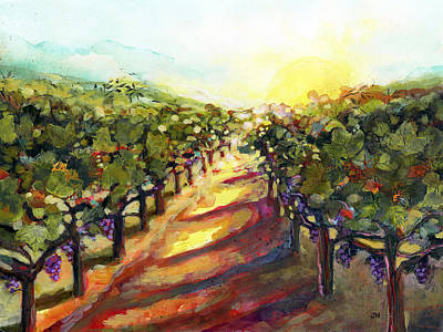 Painted Landscape Painting - Sunrise In Napa by Jen Norton