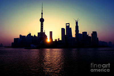Photograph - Sunrise In Shanghai City by Yew Kwang