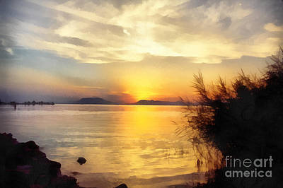 Sunrise In The Balaton Lake Print by Odon Czintos