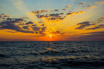 Print featuring the photograph Sunrise Lake Michigan August 10th 2013 001 by Michael  Bennett